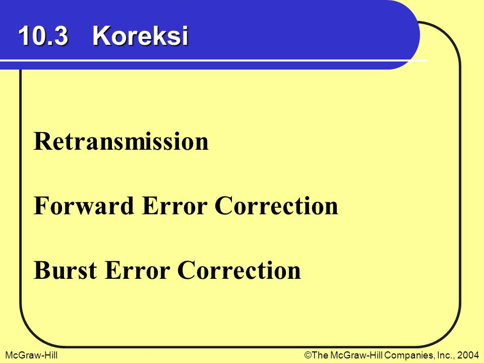 McGraw-Hill©The McGraw-Hill Companies, Inc., 2004 10.3 Koreksi Retransmission Forward Error Correction Burst Error Correction