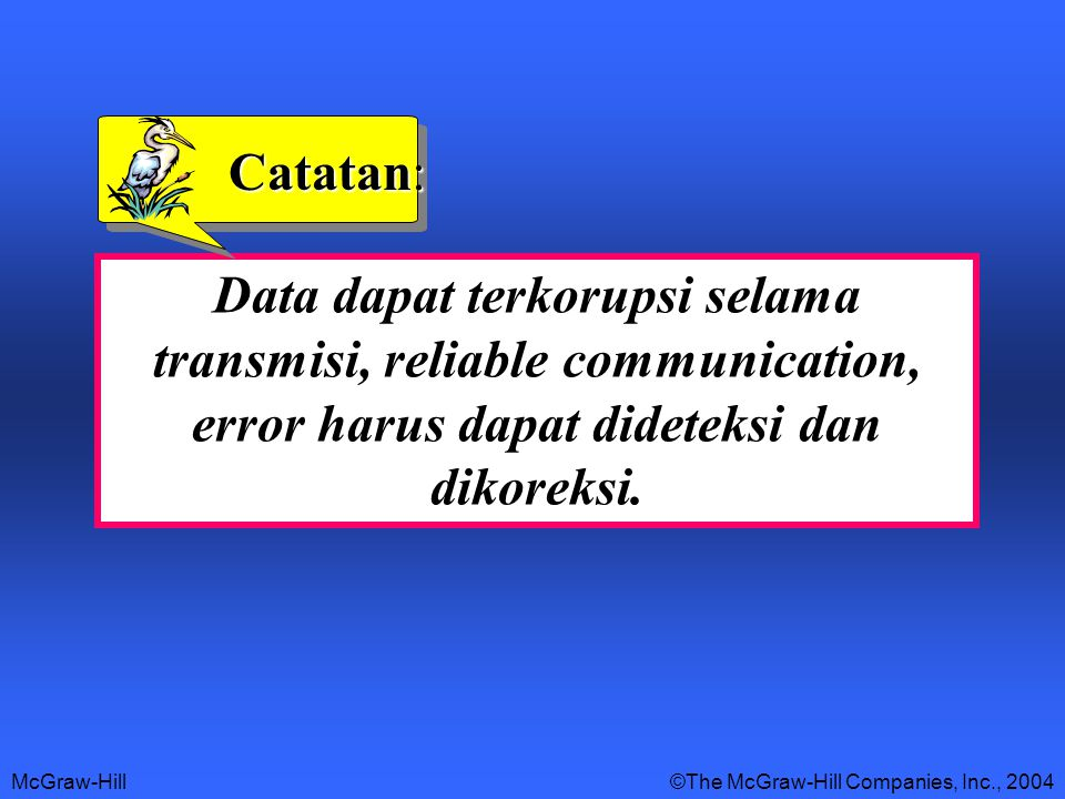 McGraw-Hill©The McGraw-Hill Companies, Inc., 2004 Data dapat terkorupsi selama transmisi, reliable communication, error harus dapat dideteksi dan dikoreksi.