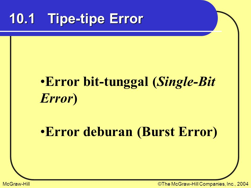 McGraw-Hill©The McGraw-Hill Companies, Inc., 2004 10.1 Tipe-tipe Error Error bit-tunggal (Single-Bit Error) Error deburan (Burst Error)