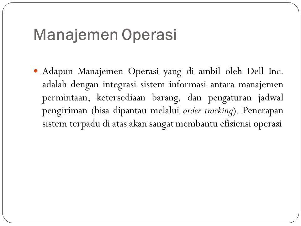 Manajemen Operasi Adapun Manajemen Operasi yang di ambil oleh Dell Inc. adalah dengan integrasi sistem informasi antara manajemen permintaan, ketersed