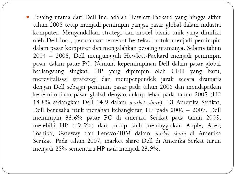 Pesaing utama dari Dell Inc. adalah Hewlett-Packard yang hingga akhir tahun 2008 tetap menjadi pemimpin pangsa pasar global dalam industri komputer. M