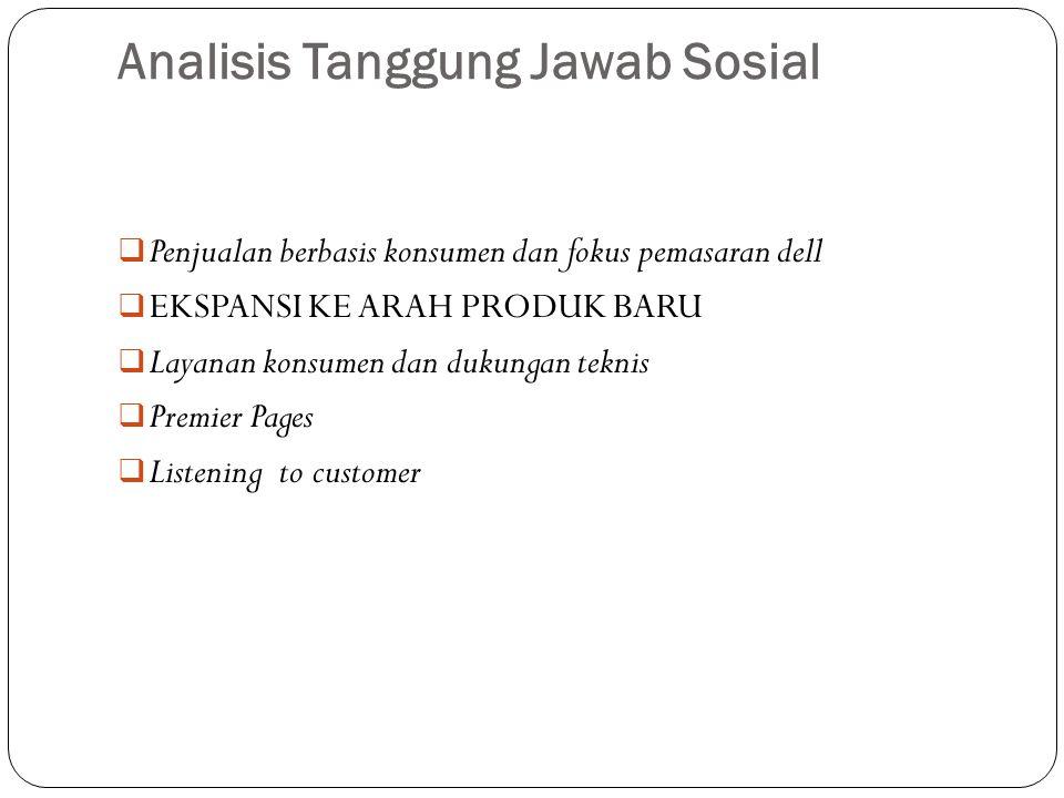 Analisis Tanggung Jawab Sosial  Penjualan berbasis konsumen dan fokus pemasaran dell  EKSPANSI KE ARAH PRODUK BARU  Layanan konsumen dan dukungan t
