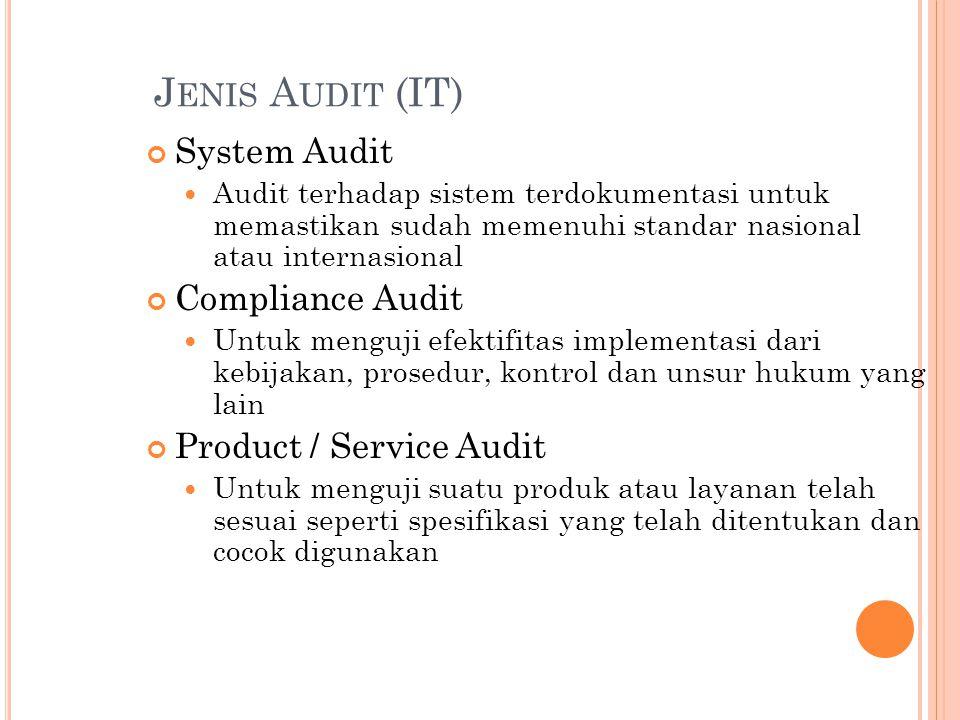 J ENIS A UDIT (IT) System Audit Audit terhadap sistem terdokumentasi untuk memastikan sudah memenuhi standar nasional atau internasional Compliance Audit Untuk menguji efektifitas implementasi dari kebijakan, prosedur, kontrol dan unsur hukum yang lain Product / Service Audit Untuk menguji suatu produk atau layanan telah sesuai seperti spesifikasi yang telah ditentukan dan cocok digunakan