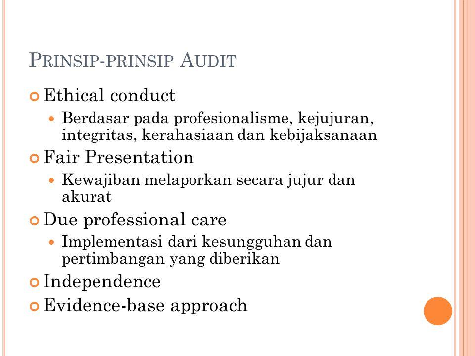 P RINSIP - PRINSIP A UDIT Ethical conduct Berdasar pada profesionalisme, kejujuran, integritas, kerahasiaan dan kebijaksanaan Fair Presentation Kewajiban melaporkan secara jujur dan akurat Due professional care Implementasi dari kesungguhan dan pertimbangan yang diberikan Independence Evidence-base approach