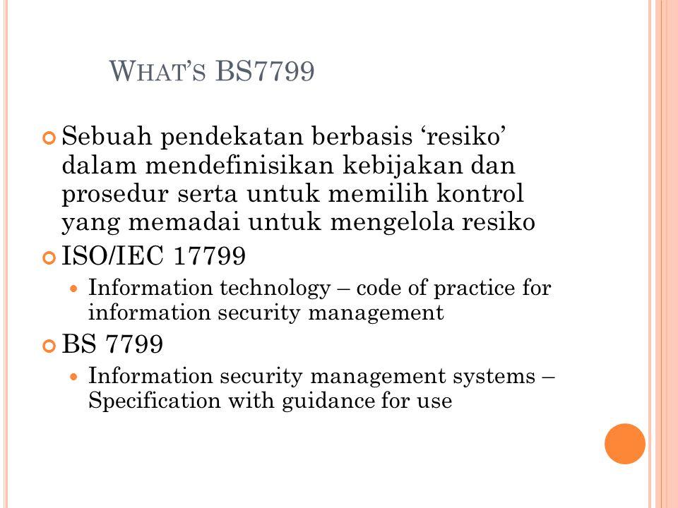 W HAT ' S BS7799 Sebuah pendekatan berbasis 'resiko' dalam mendefinisikan kebijakan dan prosedur serta untuk memilih kontrol yang memadai untuk mengelola resiko ISO/IEC 17799 Information technology – code of practice for information security management BS 7799 Information security management systems – Specification with guidance for use