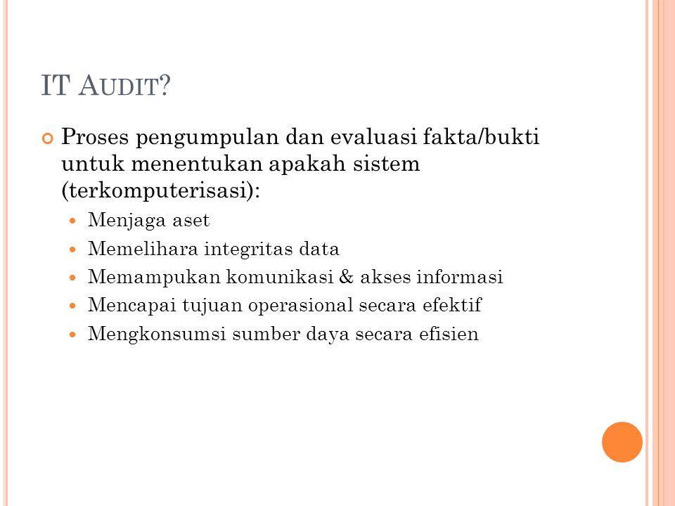 IT A UDIT ? Proses pengumpulan dan evaluasi fakta/bukti untuk menentukan apakah sistem (terkomputerisasi): Menjaga aset Memelihara integritas data Mem