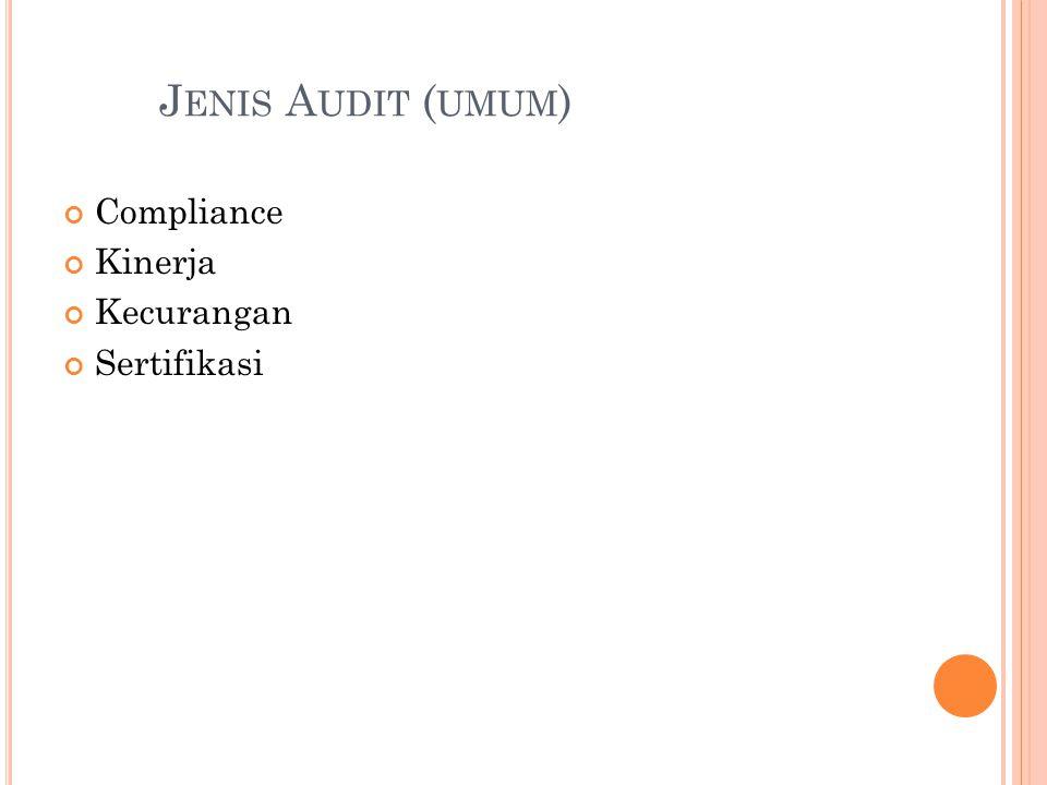 J ENIS A UDIT ( UMUM ) Compliance Kinerja Kecurangan Sertifikasi