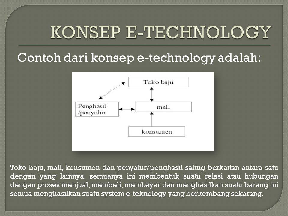Contoh dari konsep e-technology adalah: Toko baju, mall, konsumen dan penyalur/penghasil saling berkaitan antara satu dengan yang lainnya. semuanya in