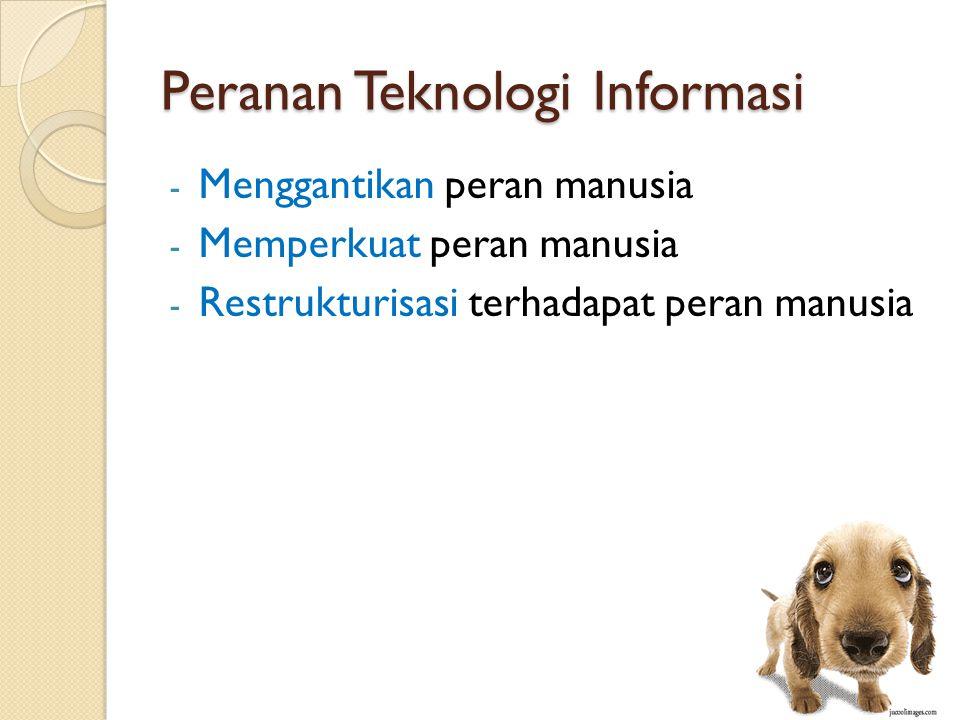 Peranan Teknologi Informasi - Menggantikan peran manusia - Memperkuat peran manusia - Restrukturisasi terhadapat peran manusia