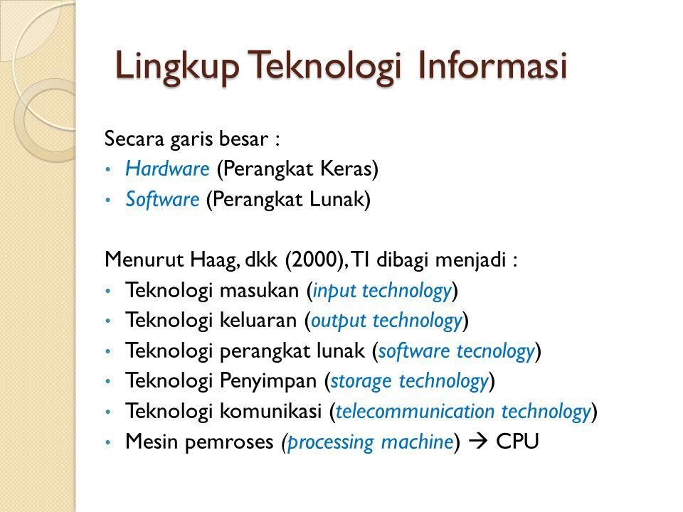 Lingkup Teknologi Informasi Secara garis besar : Hardware (Perangkat Keras) Software (Perangkat Lunak) Menurut Haag, dkk (2000), TI dibagi menjadi : T