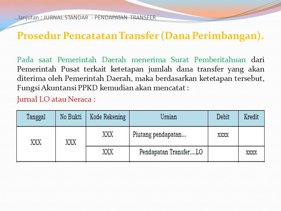 …lanjutan : JURNAL STANDAR - PENDAPATAN TRANSFER Prosedur Pencatatan Transfer (Dana Perimbangan). Pada saat Pemerintah Daerah menerima Surat Pemberita