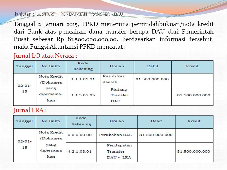 …lanjutan : ILUSTRASI – PENDAPATAN TRANSFER - DAU Tanggal 2 Januari 2015, PPKD menerima pemindahbukuan/nota kredit dari Bank atas pencairan dana trans