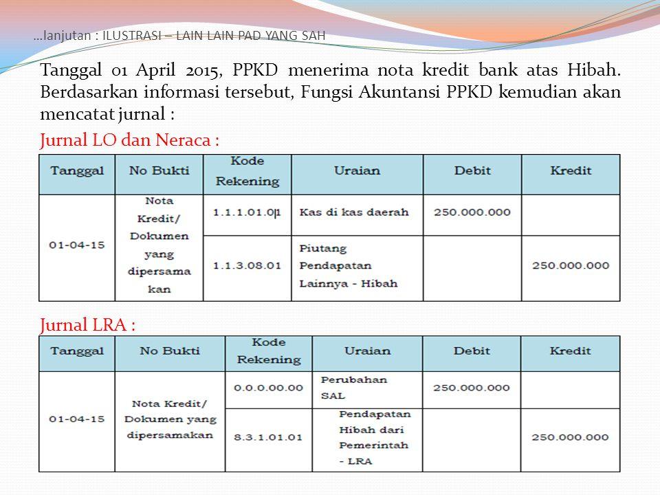 …lanjutan : ILUSTRASI – LAIN LAIN PAD YANG SAH Tanggal 01 April 2015, PPKD menerima nota kredit bank atas Hibah. Berdasarkan informasi tersebut, Fungs