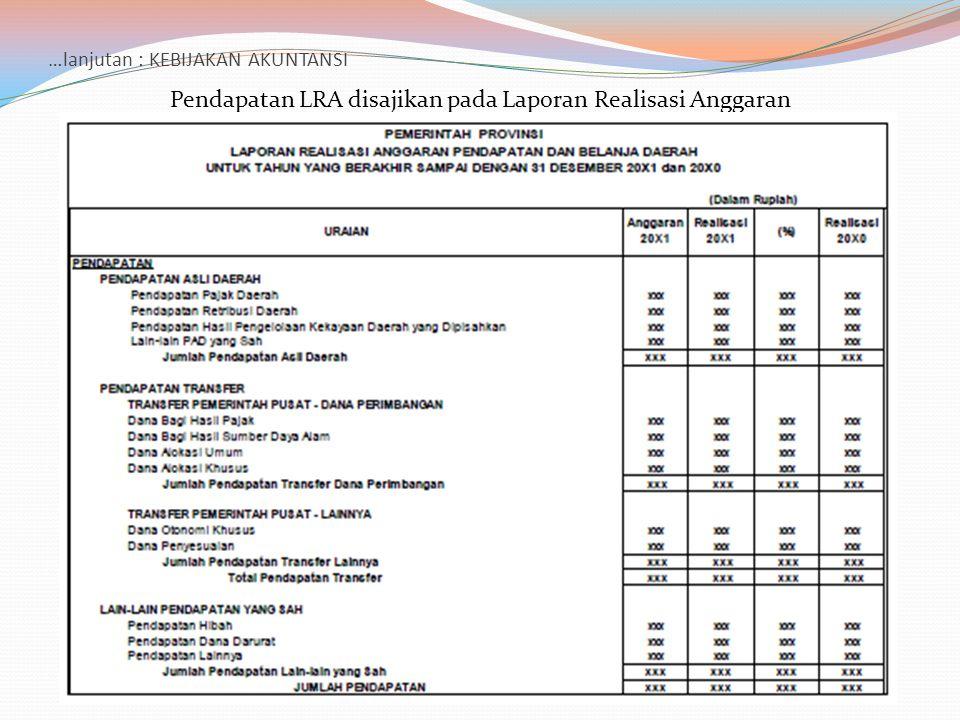 …lanjutan : KEBIJAKAN AKUNTANSI Pendapatan LRA disajikan pada Laporan Realisasi Anggaran