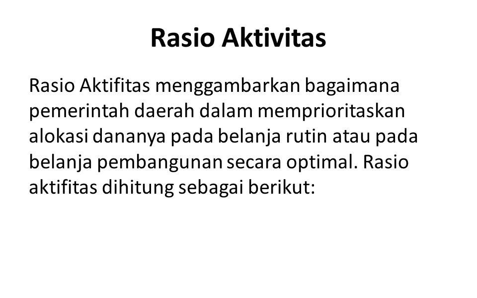 Rasio Aktivitas Rasio Aktifitas menggambarkan bagaimana pemerintah daerah dalam memprioritaskan alokasi dananya pada belanja rutin atau pada belanja p