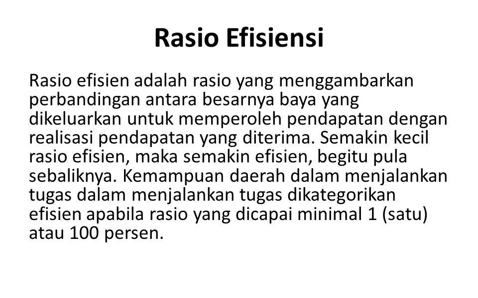 Rasio Efisiensi Rasio efisien adalah rasio yang menggambarkan perbandingan antara besarnya baya yang dikeluarkan untuk memperoleh pendapatan dengan re