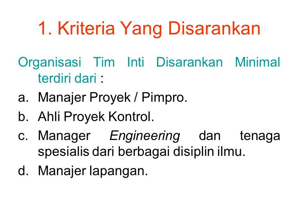 1. Kriteria Yang Disarankan Organisasi Tim Inti Disarankan Minimal terdiri dari : a.Manajer Proyek / Pimpro. b.Ahli Proyek Kontrol. c.Manager Engineer