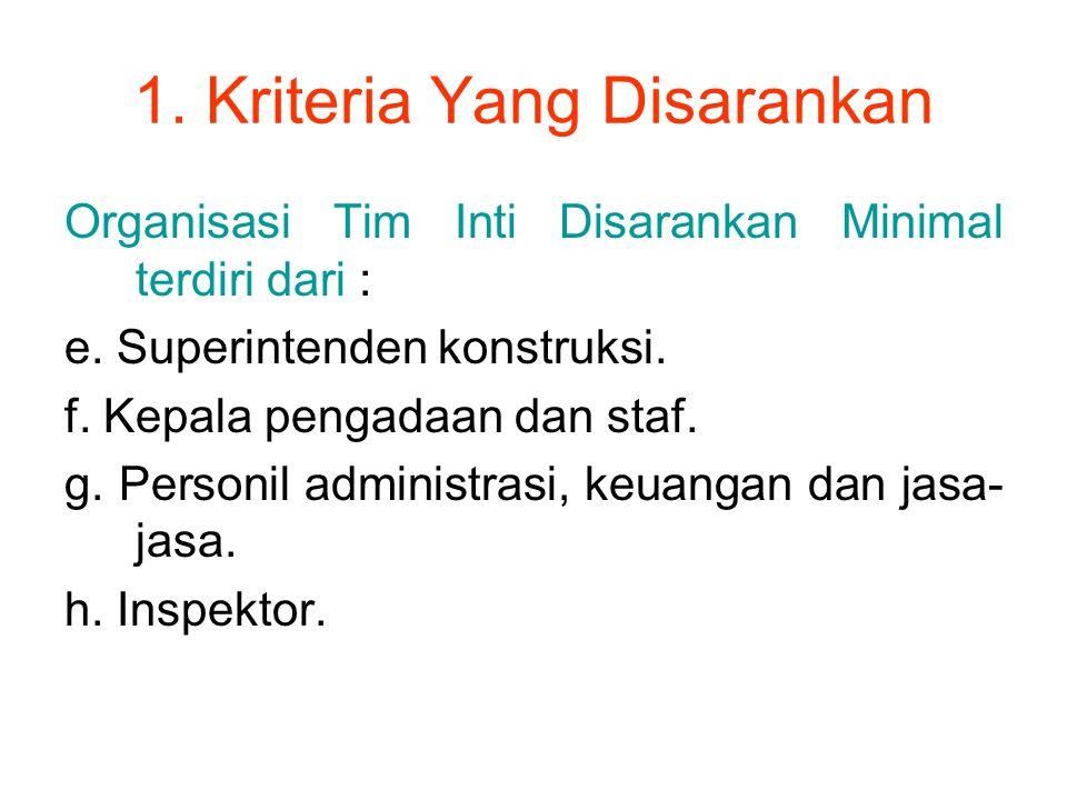 1. Kriteria Yang Disarankan Organisasi Tim Inti Disarankan Minimal terdiri dari : e. Superintenden konstruksi. f. Kepala pengadaan dan staf. g. Person