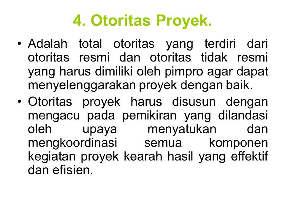 4. Otoritas Proyek. Adalah total otoritas yang terdiri dari otoritas resmi dan otoritas tidak resmi yang harus dimiliki oleh pimpro agar dapat menyele