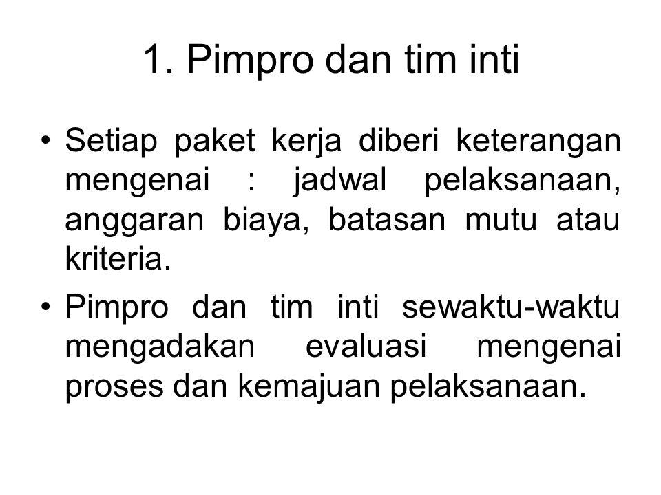 1. Pimpro dan tim inti Setiap paket kerja diberi keterangan mengenai : jadwal pelaksanaan, anggaran biaya, batasan mutu atau kriteria. Pimpro dan tim