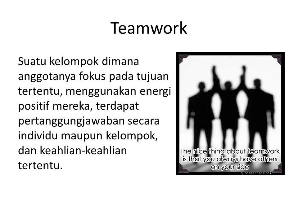 Teamwork Suatu kelompok dimana anggotanya fokus pada tujuan tertentu, menggunakan energi positif mereka, terdapat pertanggungjawaban secara individu maupun kelompok, dan keahlian-keahlian tertentu.