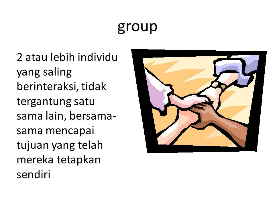 group 2 atau lebih individu yang saling berinteraksi, tidak tergantung satu sama lain, bersama- sama mencapai tujuan yang telah mereka tetapkan sendiri
