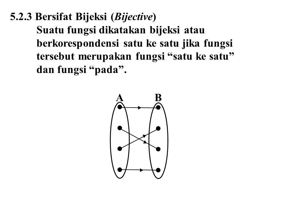 """5.2.3 Bersifat Bijeksi (Bijective) Suatu fungsi dikatakan bijeksi atau berkorespondensi satu ke satu jika fungsi tersebut merupakan fungsi """"satu ke sa"""