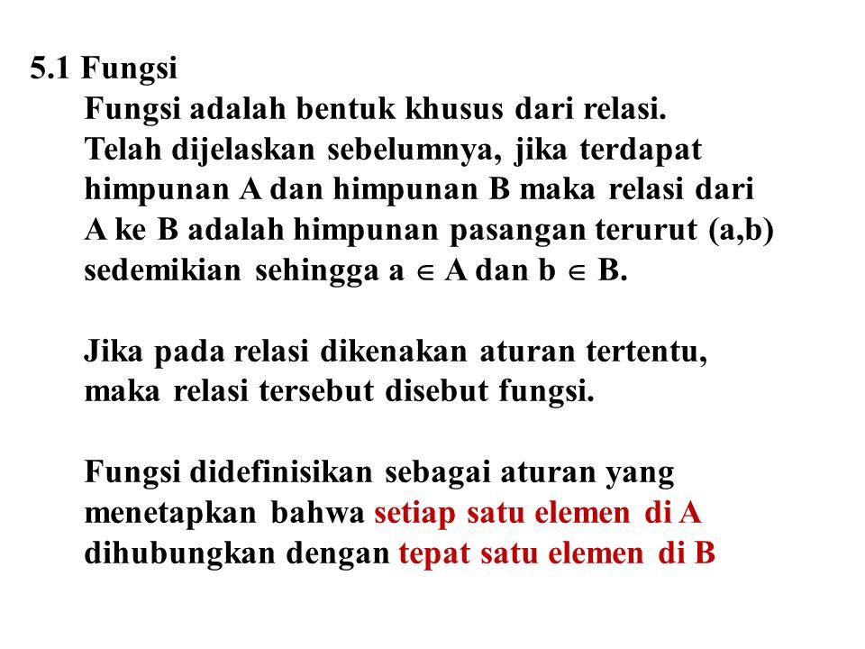 5.1 Fungsi Fungsi adalah bentuk khusus dari relasi. Telah dijelaskan sebelumnya, jika terdapat himpunan A dan himpunan B maka relasi dari A ke B adala