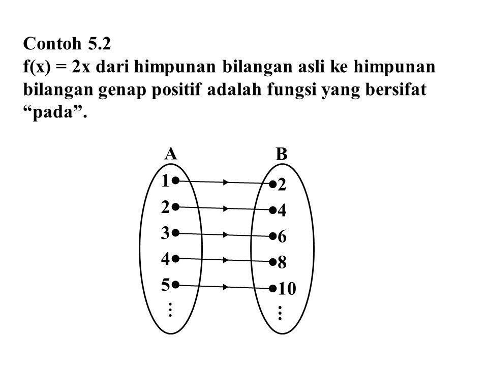 """Contoh 5.2 f(x) = 2x dari himpunan bilangan asli ke himpunan bilangan genap positif adalah fungsi yang bersifat """"pada"""". 12345⋮12345⋮  2  4"""