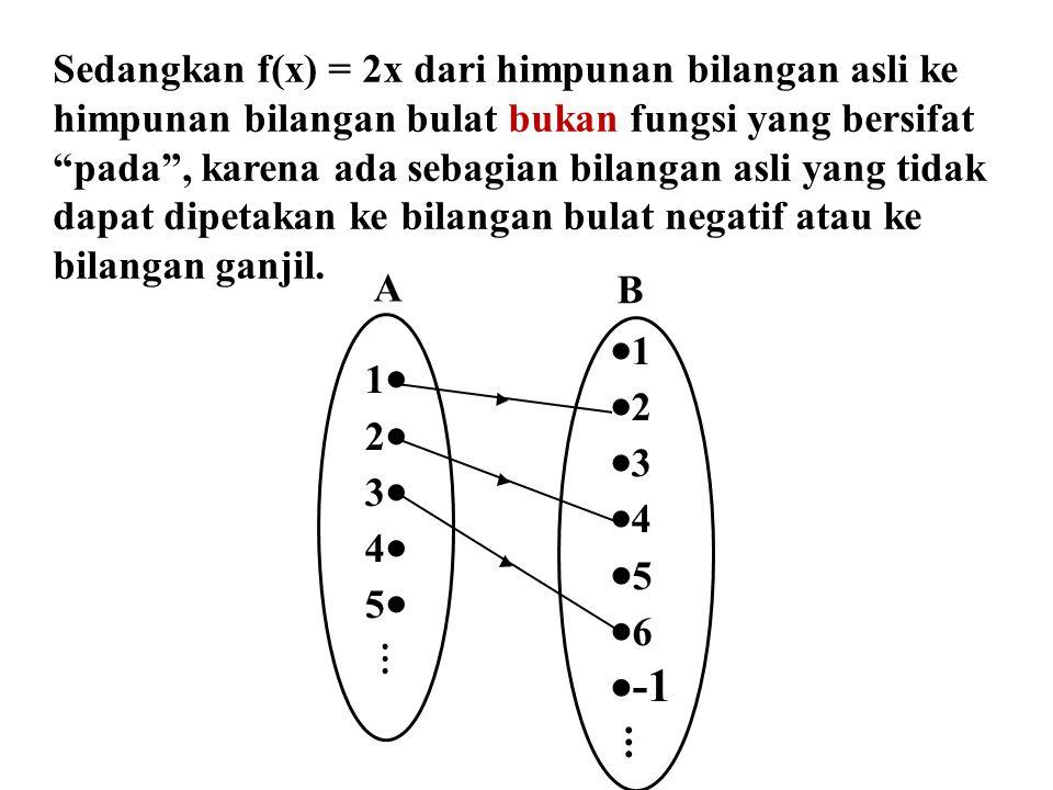 """Sedangkan f(x) = 2x dari himpunan bilangan asli ke himpunan bilangan bulat bukan fungsi yang bersifat """"pada"""", karena ada sebagian bilangan asli yang t"""