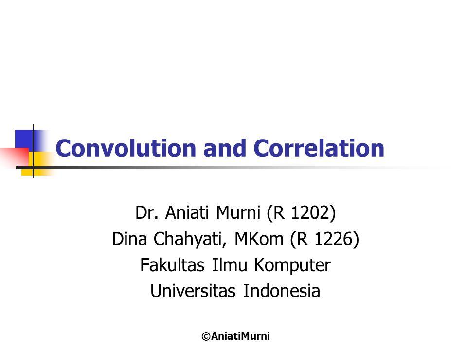 Convolution and Correlation Dr. Aniati Murni (R 1202) Dina Chahyati, MKom (R 1226) Fakultas Ilmu Komputer Universitas Indonesia ©AniatiMurni