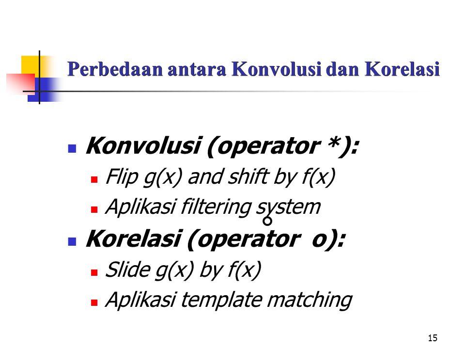 15 Perbedaan antara Konvolusi dan Korelasi Konvolusi (operator *): Flip g(x) and shift by f(x) Aplikasi filtering system Korelasi (operator o): Slide g(x) by f(x) Aplikasi template matching