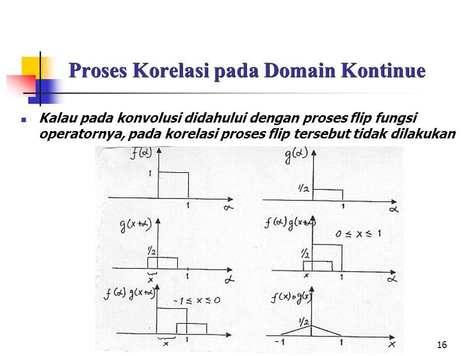 16 Proses Korelasi pada Domain Kontinue Kalau pada konvolusi didahului dengan proses flip fungsi operatornya, pada korelasi proses flip tersebut tidak dilakukan