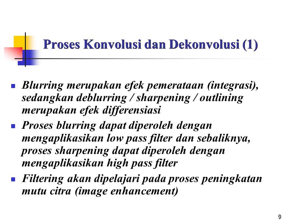 9 Proses Konvolusi dan Dekonvolusi (1) Blurring merupakan efek pemerataan (integrasi), sedangkan deblurring / sharpening / outlining merupakan efek di
