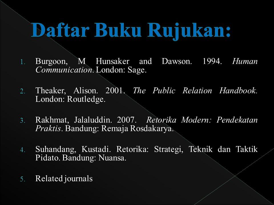 1.Burgoon, M Hunsaker and Dawson. 1994. Human Communication.
