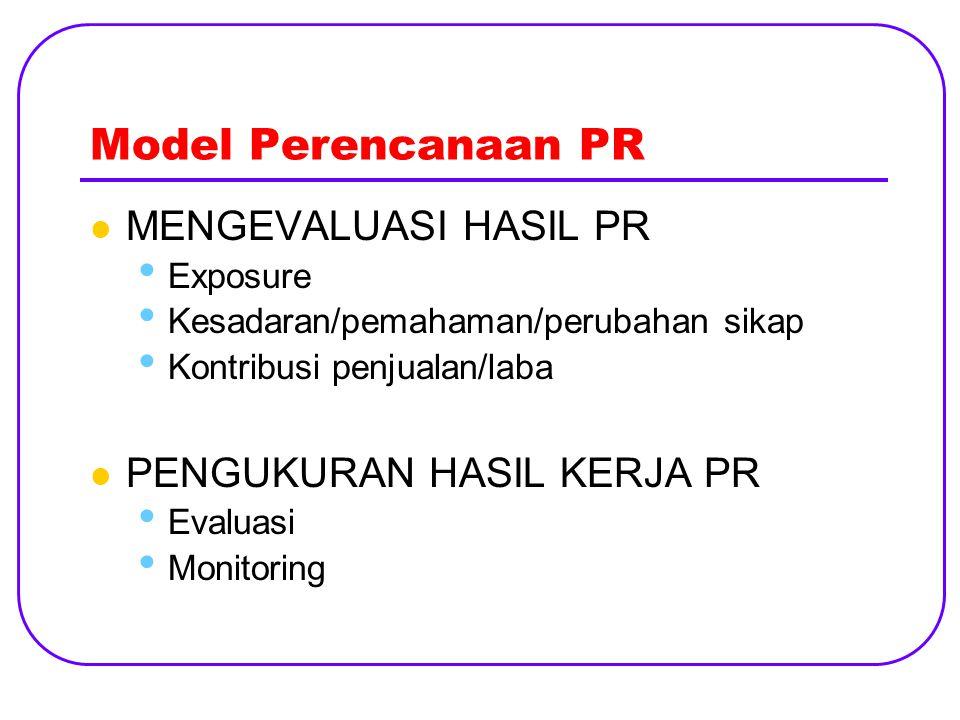 Model Perencanaan PR MENGEVALUASI HASIL PR Exposure Kesadaran/pemahaman/perubahan sikap Kontribusi penjualan/laba PENGUKURAN HASIL KERJA PR Evaluasi Monitoring