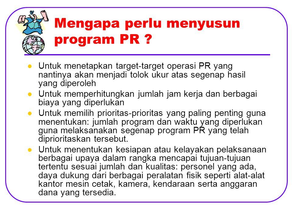 Mengapa perlu menyusun program PR .