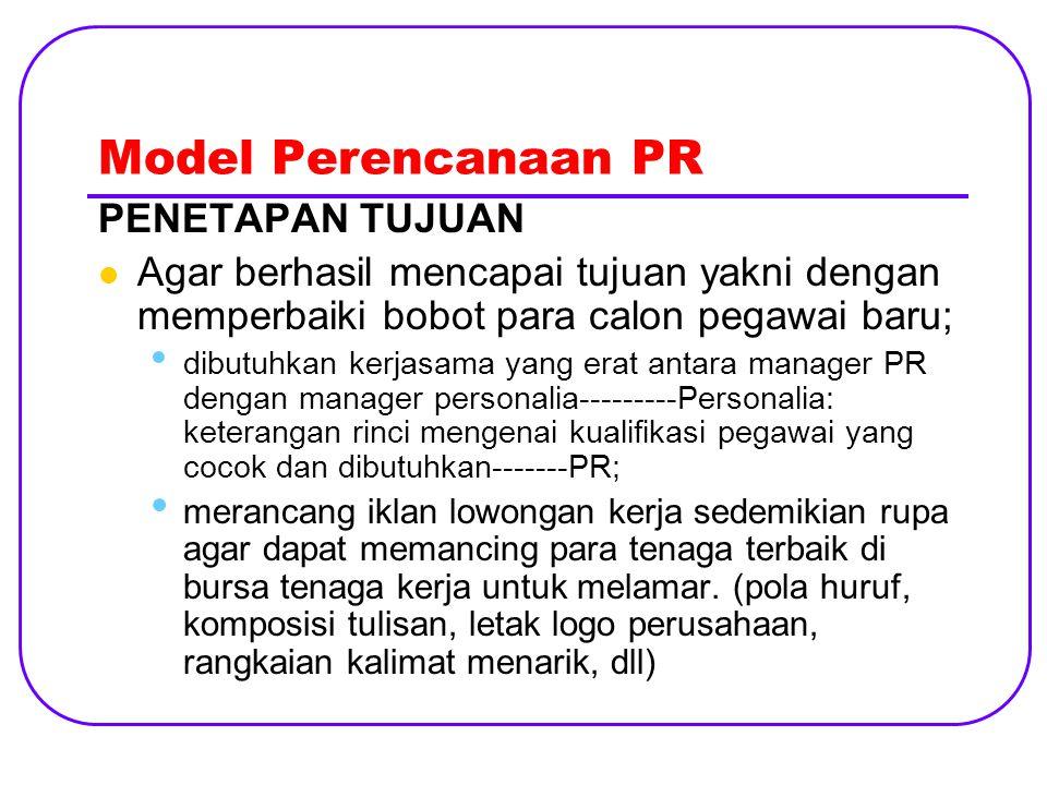 Model Perencanaan PR DEFINISI KHALAYAK Penting untuk membatasi khalayak Menentukan khalayak yang paling sesuai Khalayak PR lebih bervariasi dari khalayak iklan