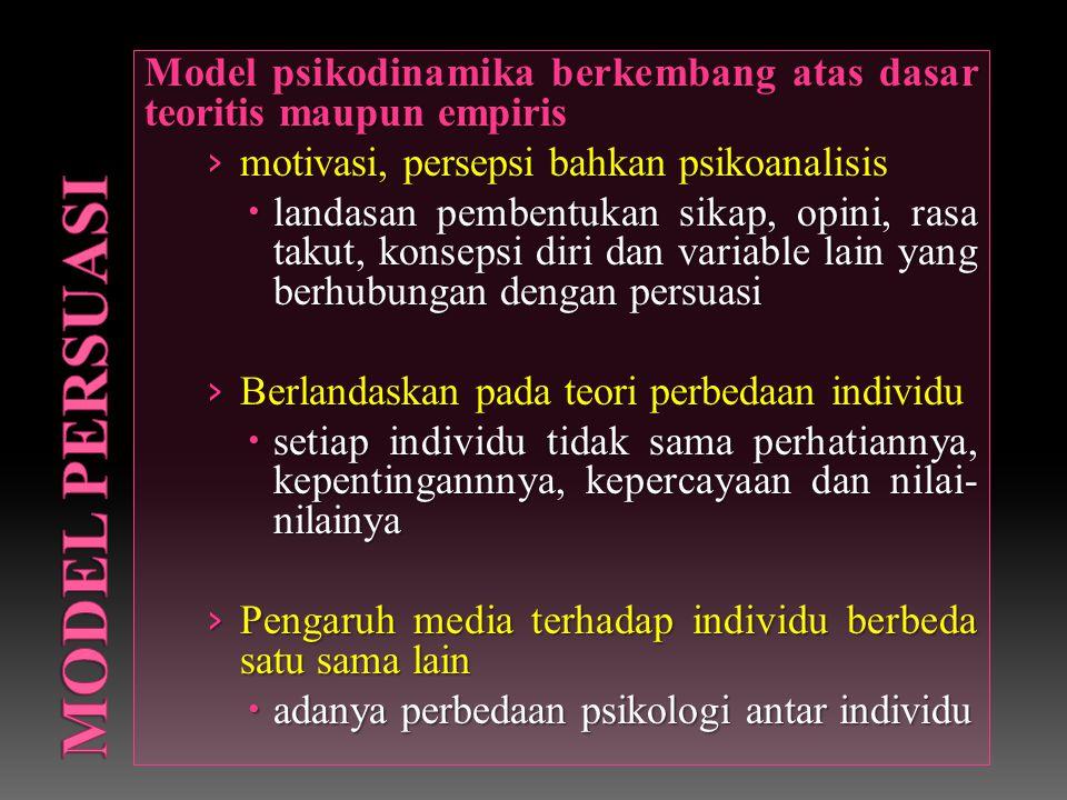 Model psikodinamika berkembang atas dasar teoritis maupun empiris › motivasi, persepsi bahkan psikoanalisis  landasan pembentukan sikap, opini, rasa takut, konsepsi diri dan variable lain yang berhubungan dengan persuasi › Berlandaskan pada teori perbedaan individu  setiap individu tidak sama perhatiannya, kepentingannnya, kepercayaan dan nilai- nilainya › Pengaruh media terhadap individu berbeda satu sama lain  adanya perbedaan psikologi antar individu