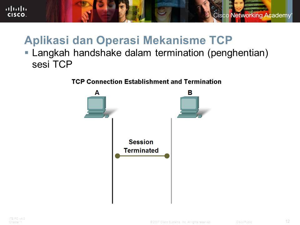 ITE PC v4.0 Chapter 1 12 © 2007 Cisco Systems, Inc. All rights reserved.Cisco Public Aplikasi dan Operasi Mekanisme TCP  Langkah handshake dalam term