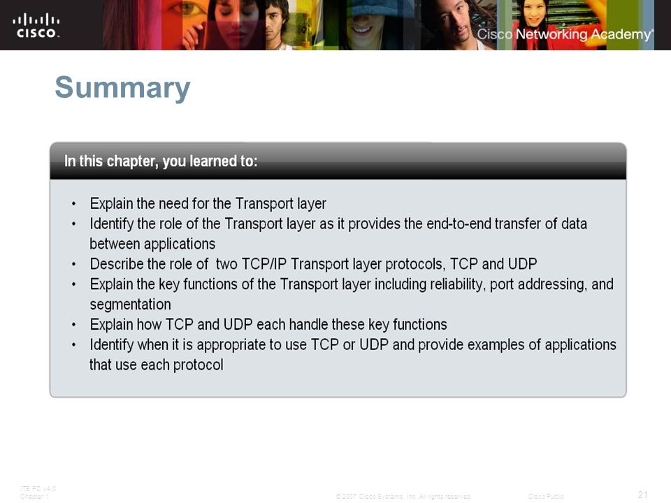 ITE PC v4.0 Chapter 1 21 © 2007 Cisco Systems, Inc. All rights reserved.Cisco Public Summary
