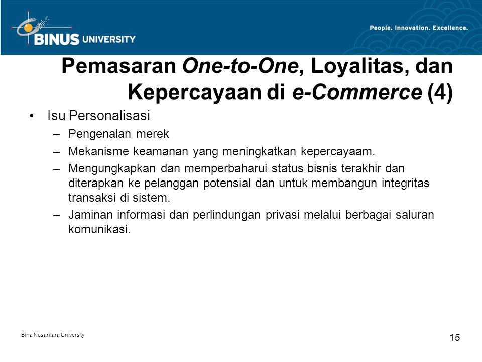 Bina Nusantara University 15 Pemasaran One-to-One, Loyalitas, dan Kepercayaan di e-Commerce (4) Isu Personalisasi –Pengenalan merek –Mekanisme keamanan yang meningkatkan kepercayaam.
