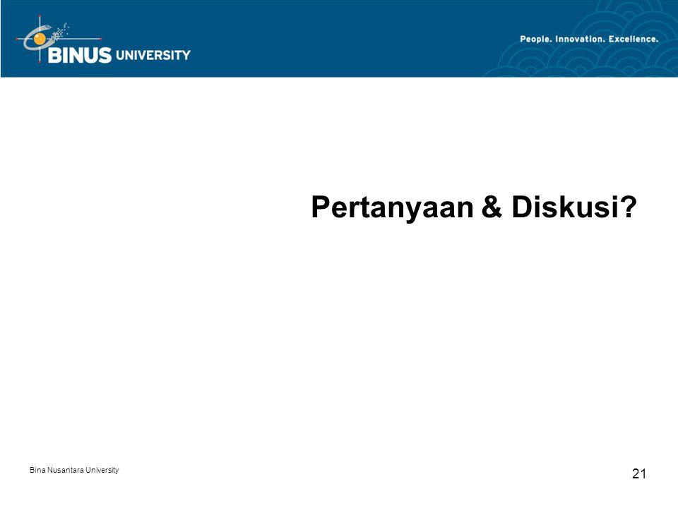 Bina Nusantara University 21 Pertanyaan & Diskusi