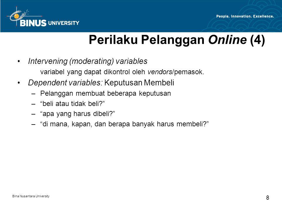 Bina Nusantara University 8 Perilaku Pelanggan Online (4) Intervening (moderating) variables variabel yang dapat dikontrol oleh vendors/pemasok.