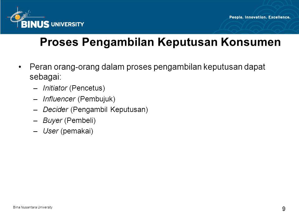 Bina Nusantara University 9 Proses Pengambilan Keputusan Konsumen Peran orang-orang dalam proses pengambilan keputusan dapat sebagai: –Initiator (Pencetus) –Influencer (Pembujuk) –Decider (Pengambil Keputusan) –Buyer (Pembeli) –User (pemakai)