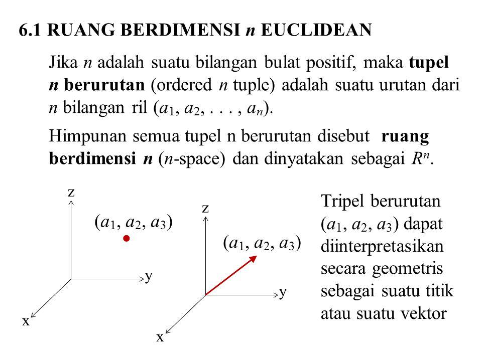 6.1 RUANG BERDIMENSI n EUCLIDEAN Jika n adalah suatu bilangan bulat positif, maka tupel n berurutan (ordered n tuple) adalah suatu urutan dari n bilangan ril (a 1, a 2,..., a n ).
