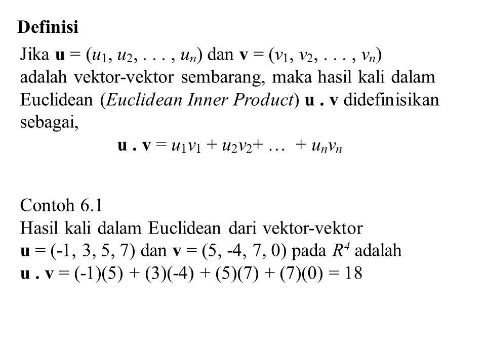 Definisi Jika u = (u 1, u 2,..., u n ) dan v = (v 1, v 2,..., v n ) adalah vektor-vektor sembarang, maka hasil kali dalam Euclidean (Euclidean Inner Product) u.