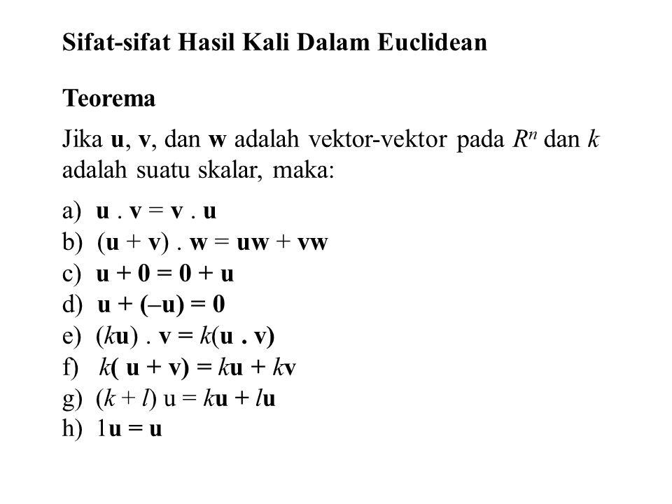 Sifat-sifat Hasil Kali Dalam Euclidean Teorema Jika u, v, dan w adalah vektor-vektor pada R n dan k adalah suatu skalar, maka: a) u. v = v. u b) (u +