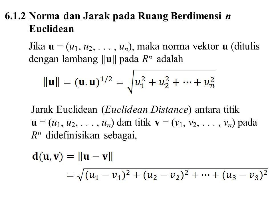 6.1.2 Norma dan Jarak pada Ruang Berdimensi n Euclidean Jika u = (u 1, u 2,..., u n ), maka norma vektor u (ditulis dengan lambang ||u|| pada R n adalah Jarak Euclidean (Euclidean Distance) antara titik u = (u 1, u 2,..., u n ) dan titik v = (v 1, v 2,..., v n ) pada R n didefinisikan sebagai,