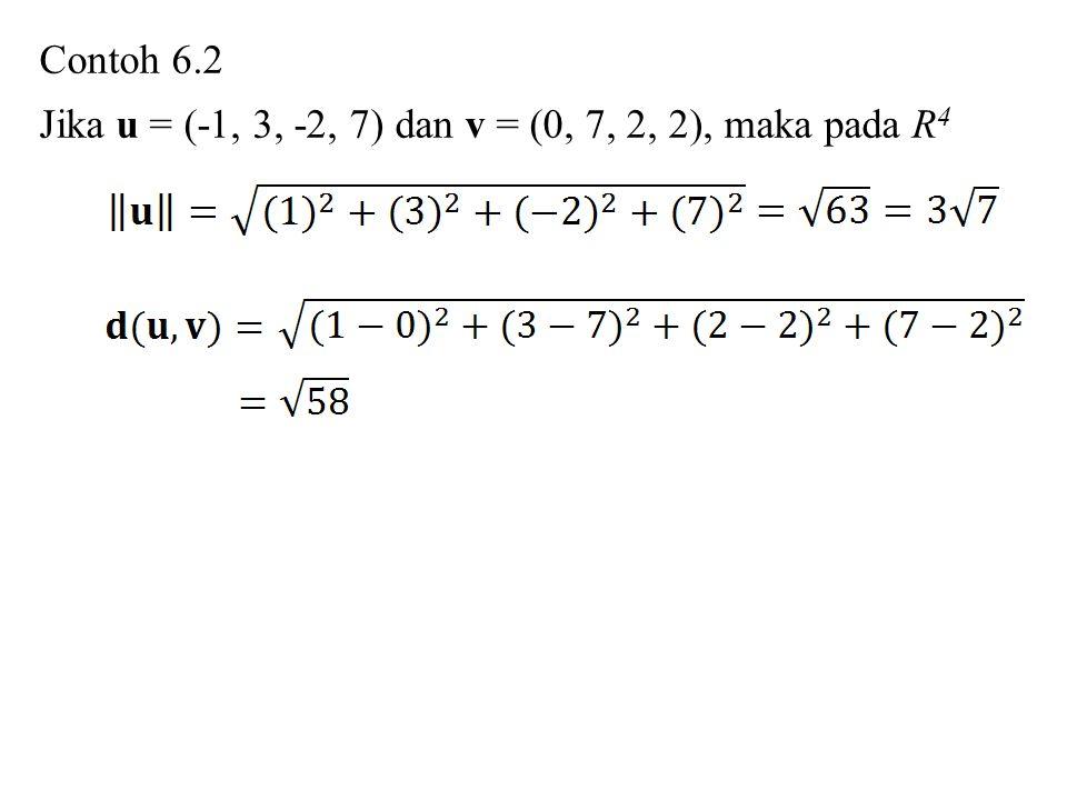 Contoh 6.2 Jika u = (-1, 3, -2, 7) dan v = (0, 7, 2, 2), maka pada R 4